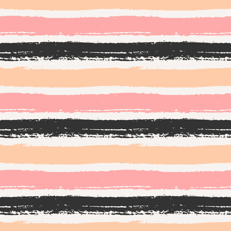 Hand drawn striped seamless pattern. Horizontal brush strokes repeat pattern in pastel pink, orange and black. Illustration