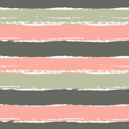 striped: Hand drawn striped seamless pattern. Horizontal brush strokes repeat pattern in pastel pink, brown and green.