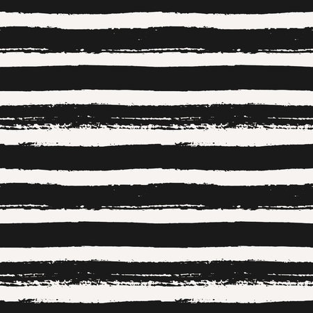 Hand drawn striped seamless pattern. Monochrome horizontal dry brush strokes texture. 向量圖像