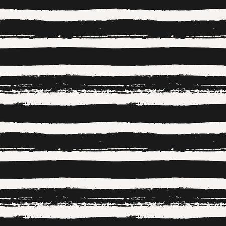 Hand drawn striped seamless pattern. Monochrome horizontal dry brush strokes texture. Illustration