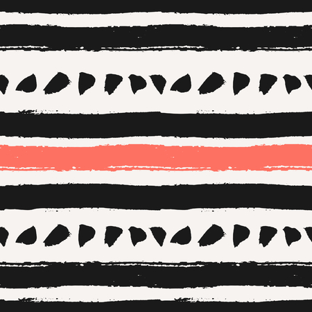 repeat texture: Hand drawn brush strokes seamless pattern. Abstract hand painted repeat texture in black and coral red. Illustration