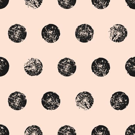抽象的なシームレス パターン テクスチャ円。黒とパステル ピンクの水彩水玉パターンを手作り。