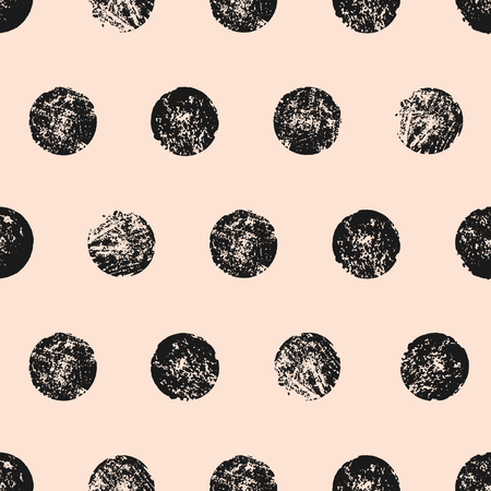Abstract seamless pattern with textured circles. Hand made watercolor polka dots pattern in black and pastel pink.