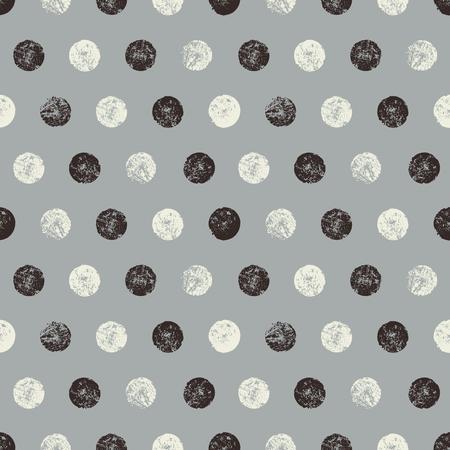 抽象的なシームレス パターン テクスチャ円。手作りのモノクロ水彩画水玉パターン。