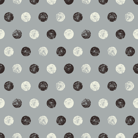 Abstract seamless pattern with textured circles. Hand made monochrome watercolor polka dots pattern. Vector