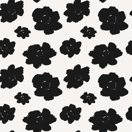 Hand drawn flowers seamless pattern. Monochrome repeat pattern with abstract brush strokes. Vector
