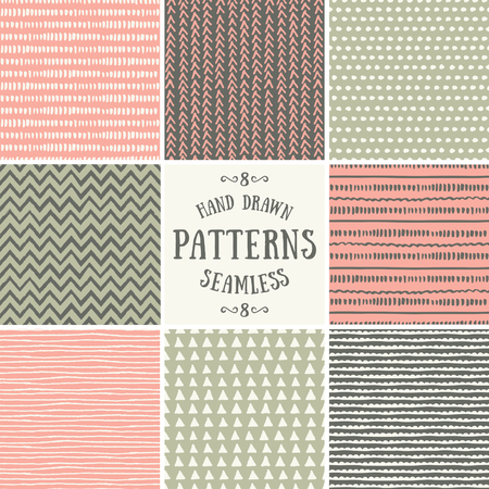 geometrics: A set of hand drawn style abstract seamless patterns. Tiling repeat backgrounds collection in pastel pink, green and brown.