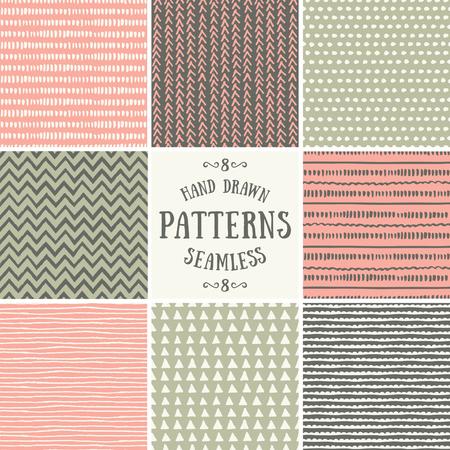 geometricos: Un conjunto de estilo dibujado a mano patrones de costura abstractos. Forros colección repetición antecedentes en rosa en colores pastel, verde y marrón. Vectores