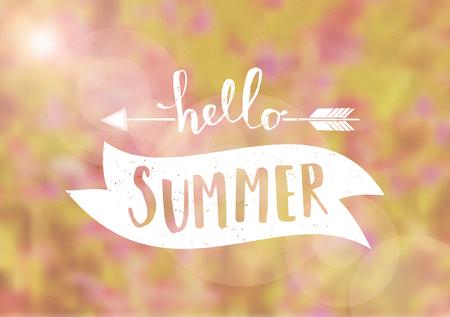 「こんにちは夏」タイポグラフィ デザイン花柄背景をぼかし。EPS 10 ファイル、グラデーション メッシュを使用します。