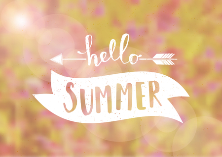 Hello Summer typographic design on a blurred floral background. EPS 10 file, gradient mesh used.