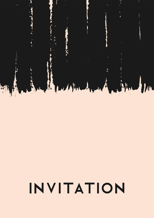 blush: Hand drawn brush strokes invitation design. Vertical paint stripes in black on blush pink background. Modern and elegant wedding invitation greeting card template. Illustration