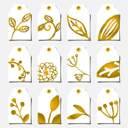 decorate element: A set of twelve hand drawn floral design labels in golden and white. Illustration