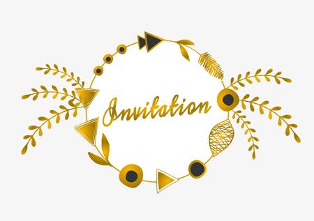 Tribal design round frame in gold and black on white background. Geometric design elements, ornate leaves, laurels and beads. Elegant wedding invitation greeting card design. Vector