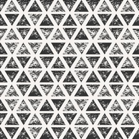 スタンプの三角形で抽象的なシームレス パターン。手描き水彩幾何学模様。
