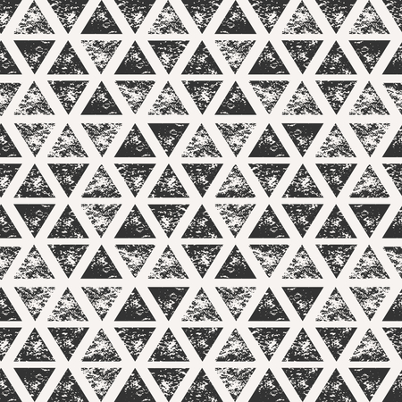 Abstract seamless pattern with stamped triangular shapes. Hand drawn watercolor geometric pattern. Vector