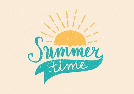 typographic: Hand drawn typographic design poster Summer Time in retro style.