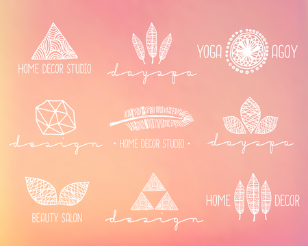 A set of hand drawn vintage style design elements. Modern and elegant premade typographic logo designs on a blurred background. EPS 10 file, gradient mesh used. Vector