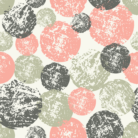 Abstract seamless pattern with stamped circles. Hand made watercolor geometric pattern in pastel pink, green and brown. Illustration