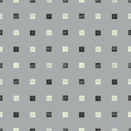 織り目加工の正方形の抽象的なシームレス パターン。手作りのモノクロ水彩画正方形パターン。