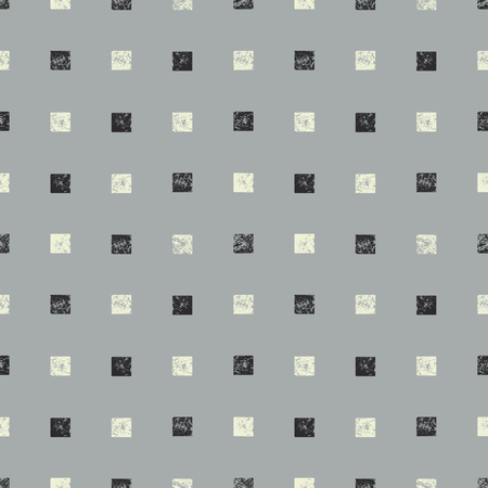 Abstract seamless pattern with textured squares. Hand made monochrome watercolor squares pattern.