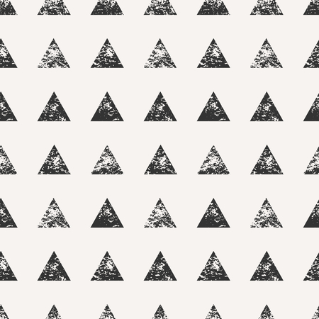 Abstract seamless pattern with stamped triangular shapes. Hand drawn watercolor geometric pattern. Ilustração
