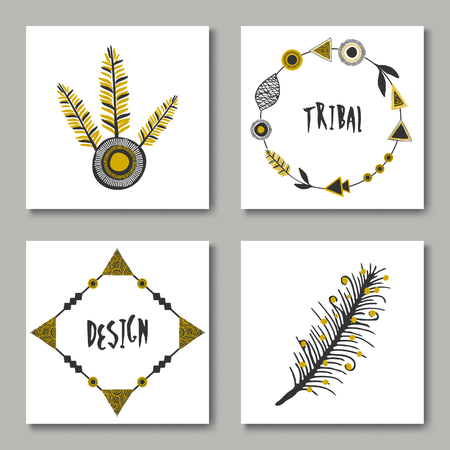 A set of tribal design greeting cards in black and mustard yellow. Illustration