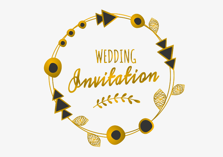 Tribal design round frame in gold and black on white background. Geometric design elements, ornate leaves, and beads. Elegant wedding invitation greeting card design. Vector