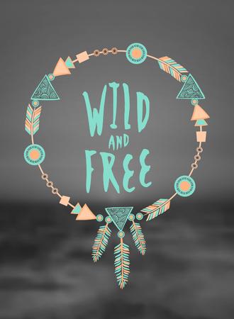 手は、ぼやけた白と黒海の背景に、パステル カラーのタイポグラフィ デザイン「野生と自由」とドリーム キャッチャーを描いた。ファイル、グラ