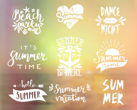 draw: A set of typographic summer designs. Vintage filter blurred ocean background. Summer season icon, posters, t-shirt, flyer, apparel designs.