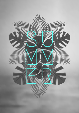 Geometric style typographic design on a mirrored composition of black and white palm tree leaves. Black and white blurred ocean background. Modern poster, card, flyer, t-shirt, apparel design.