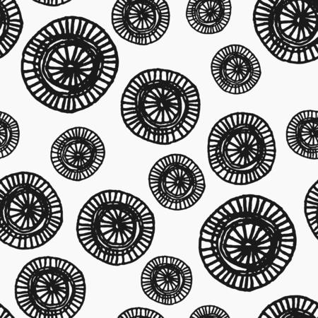 手描き抽象シームレスな繰り返しパターン黒と白で華やかなラウンド形状で。