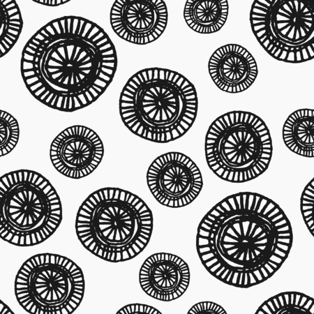 Hand drawn abstract seamless repeat pattern with ornate round shapes in black and white.