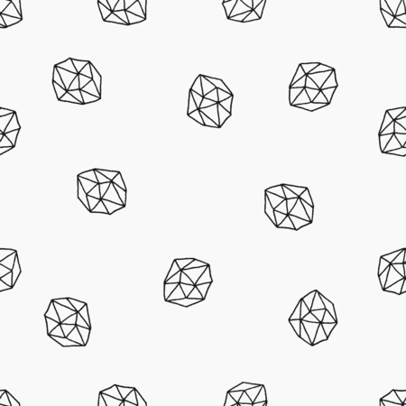 Hand drawn seamless repeat pattern with polygonal shapes in black on white background.