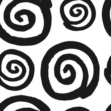 手描き黒と白幾何学的なシームレスな繰り返しパターン。モノクロのウェット ブラシ スパイラル ストロークのテクスチャです。