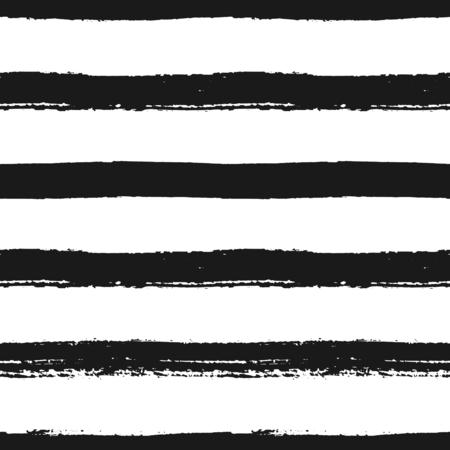 horizontal lines: Dibujado a mano sin fisuras patrón de rayas blanco y negro. Monocromo pincel seco horizontal acaricia textura.