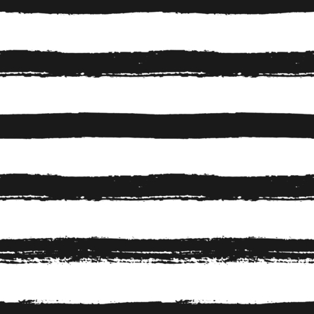 horizontální: Ručně malovaná černobílý pruhovaný bezproblémové vzor. Monochrome horizontální suché tahy štětcem textury.