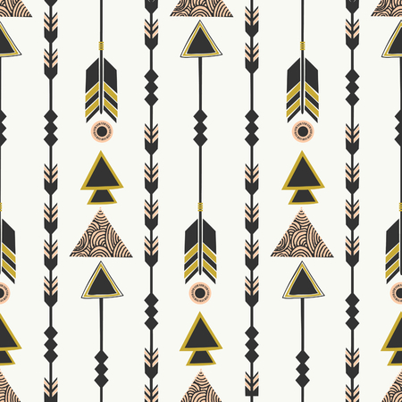 Seamless pattern with arrows in black, pink and green. Tribal style geometric elements repeat background. Vector