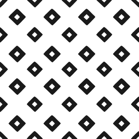 Hand drawn black and white geometric seamless repeat pattern. Monochrome wet brush strokes texture. Vector