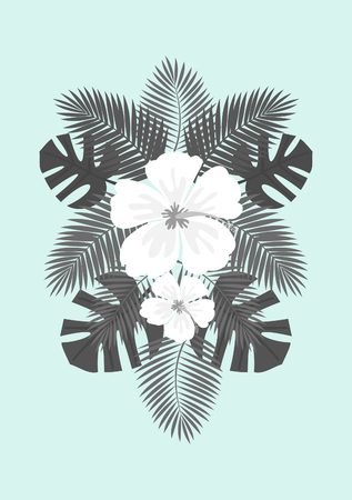 White hibiscus flowers and gray palm leaves exotic summer composition on a pastel blue background. Modern poster, card, flyer, t-shirt, apparel design.