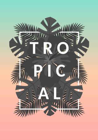 Estilo retro diseño tipográfico y la palmera en blanco y negro las hojas de composición de verano exóticas. Azul en colores pastel, naranja y rosa de fondo ombre. Cartel moderno, tarjeta, folleto, camiseta, ropa de diseño.