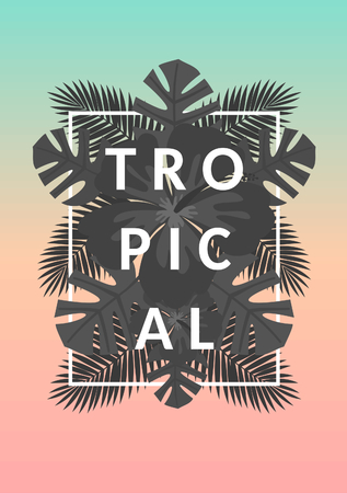tropical forest: Retro style typographic design and black and white palm tree leaves exotic summer composition. Pastel blue, orange and pink ombre background. Modern poster, card, flyer, t-shirt, apparel design.