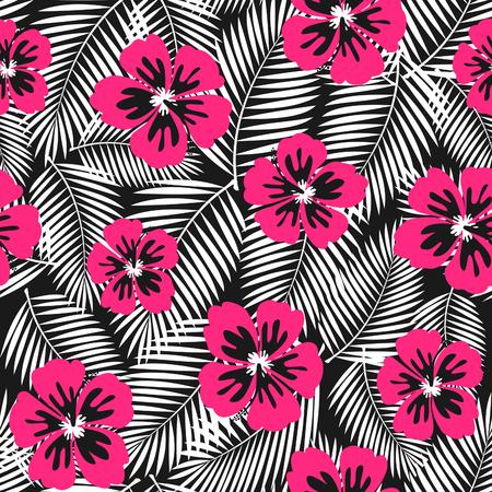 hibiscus flowers: Ripetere seamless con rosa fiori di ibisco e foglie di palma bianco su sfondo nero.