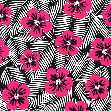prints: Seamless repeat pattern with pink hibiscus flowers and white palm leaves on black background.