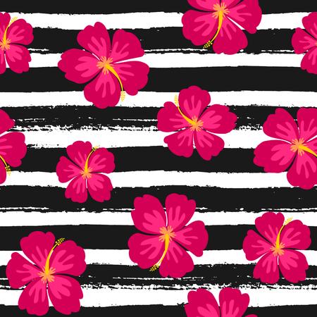 Naadloos herhaal patroon met hibiscus bloemen op een zwarte en witte handgetekende penseelstreken achtergrond.