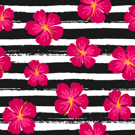 Seamless repeat pattern with hibiscus flowers on a black and white hand drawn brush strokes background.