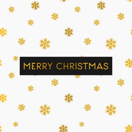 navidad elegante: Plantilla Feliz tarjeta de felicitación de Navidad. Patrón sin fisuras con los copos de nieve de oro sobre fondo blanco.
