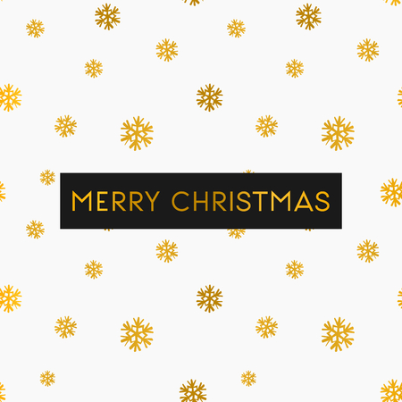 Merry Christmas greeting card template. Seamless pattern with gold snowflakes on white background. Illustration