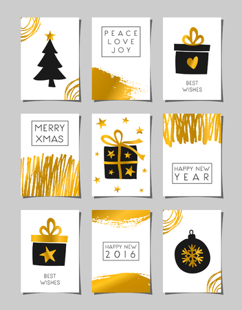 A set of Christmas greeting card templates in black, white and gold. Modern abstract brush strokes and doodles combined with traditional Christmas elements - gifts boxes, Christmas tree and bauble.