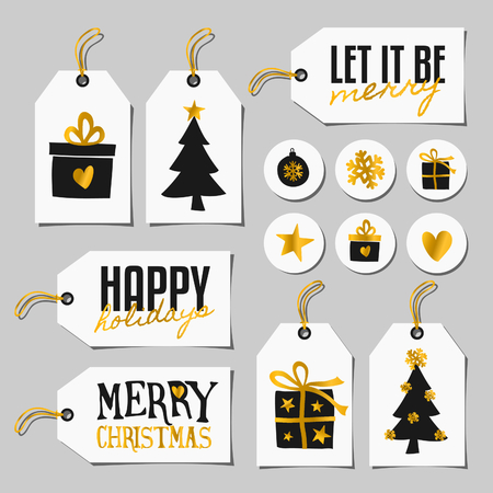 A set of Christmas gift tags and stickers in black, white and gold. Traditional Christmas elements and modern typographic designs.