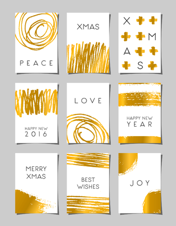 A set of hand drawn brush strokes Christmas greeting card templates. Modern and elegant abstract designs in white and gold. Ilustração